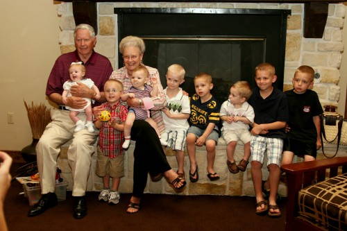 Granny & Grandpa with many of their great grandchildren.